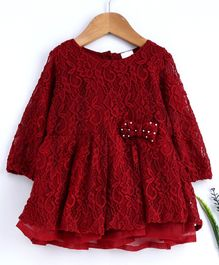 Babyhug Full Sleeves Embroidered Frock With Pearl Studded Bow Motif - Red