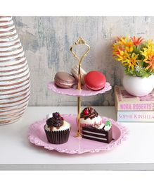 A Vintage Affair Two Tier Metal Cake Stand - Pink