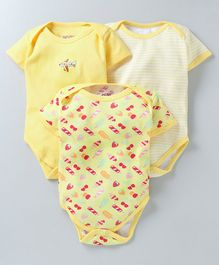 Bumzee Half Sleeves Ice Cream Print Pack of 3 Onesie - Yellow