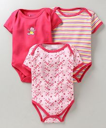 Bumzee Half Sleeves Squirrel Print Pack Of 3 Onesies - Pink