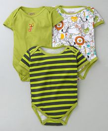 Bumzee Half Sleeves Animal Print Pack of 3 Onesies - Green