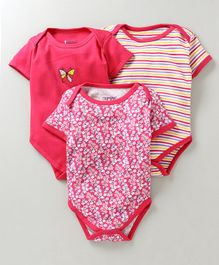 Bumzee Half Sleeves Flower Print Pack of 3 Onesies - Pink