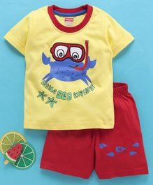 Babyhug Half Sleeves Tee & Shorts Set Sea Explorer Print - Yellow Red