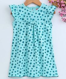 Babyhug Short Sleeves Cotton Nighty Star Print - Sea Green
