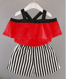 Awabox Half Sleeve Off Shoulder Top With Stripped Shorts - Red