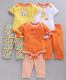 Fisher Price Bodysuit Leggings Giraffe Print Set Of 6 - Orange
