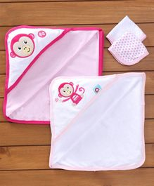 Fisher Price Towels Napkins Set Monkey Print Set Of 4 - Pink