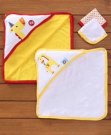 Fisher Price Towels Napkins Set Monkey Print Set Of 4 - Yellow