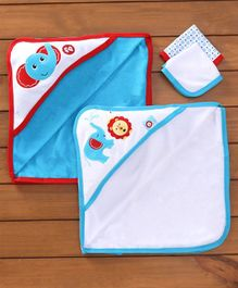 Fisher Price Towels Napkins Set Monkey Print Set Of 4 - Blue