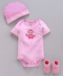 Fisher Price Cap Booties & Body Suit Monkey Print - Pink