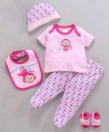 Fisher Price Top Legging Cap Bib Socks Pair Monkey Print Set Of 5 - Pink