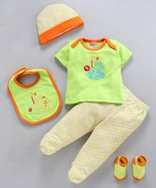 Fisher Price Top Legging Cap Bib Socks Pair Giraffe Print Set Of 5 - Green