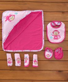 Fisher Price Baby Gift Sets Monkey Print Set Of 8 - Pink