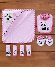 Fisher Price Towel Napkins Set Bibs Booties Set Panda Print Set Of 7 - Light Pink