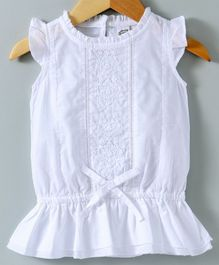 Spring Bunny Flower Embroidered Cap Sleeves Top - White
