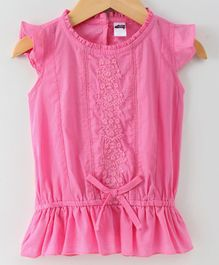 Spring Bunny Flower Embroidered Cap Sleeves Top - Pink