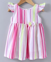 Spring Bunny Striped Cap Sleeves Dress - Pink