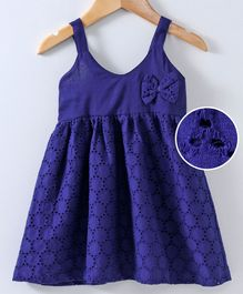 Spring Bunny Schiffly Embroidered Sleeveless Dress - Blue