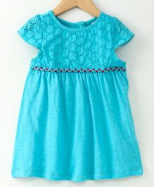 Spring Bunny Schiffly Embroidered Cap Sleeves Dress With Nora Detail - Blue
