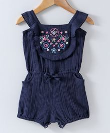Spring Bunny Butterfly Embroidered Sleeveless Romper - Blue