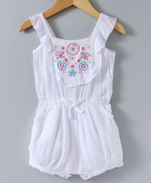 Spring Bunny Butterfly Embroidered Sleeveless Romper - White