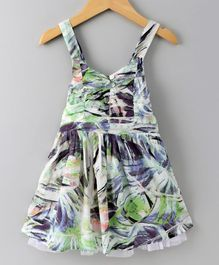 Spring Bunny Abstract Print Sleeveless Dress - Multicolor
