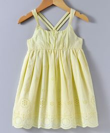 Spring Bunny Flower Embroidered Sleeveless Dress - Yellow