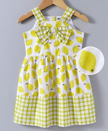 Spring Bunny Lemon Print Sleeveless Dress - Yellow