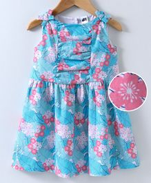 Spring Bunny Flower & Leaves Printed Sleeveless Dress - Blue
