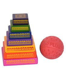Desi Toys Seven Stone Wooden Lagori Game - Multicolor