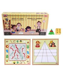 Desi Toys 2 in 1 Strategy Board Game of Goats & Tigers & Snakes & Ladders - Multicolour