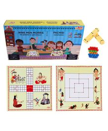 Desi Toys 2 in 1 Strategy Board Game of Nine Men Morris & Pachisi - Multicolour