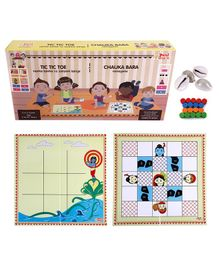 Desi Toys 2 in 1 Strategy Board game of Tic Tac Toe and Chauka Bara - Multicolour