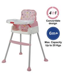 Luvlap 4 in 1 Convertible Baby High Chair Cum Booster Seat - Pink