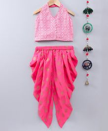 Twisha Design Printed Sleeveless Top & Dhoti Set - Pink
