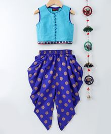 Twisha Gold Line Potli Button Sleeveless Choli & Dhoti - Blue