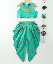 Twisha Embroidered Sleeveless Top & Dhoti Set - Green