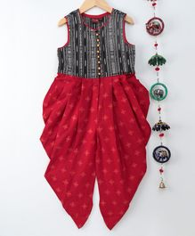 Twisha Ikat Yoke Printed Sleeveless Jumpsuit - Red