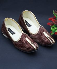 Little Palz Classic Mojaris With Shimmer Piping - Brown
