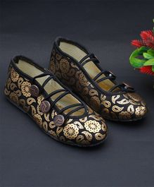 Little Palz Flower Printed Mojaris - Golden