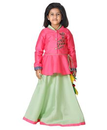 64ea9d5e46 Lilpicks Couture Peacock Embroidered Full Sleeves Jacket & Lehenga Set -  Pink & Green