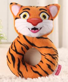 Babyhug Cat Face Rattle Cum Soft Toy Ring - Orange