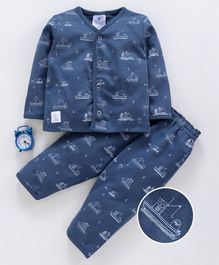 First Smile Full Sleeves Night Suit Yacht Print - Blue