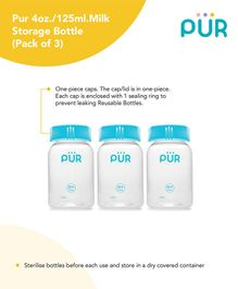 Pur Milk Storage Bottle Blue Pack of 3 - 125 ml