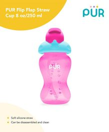 Pur Flip Flap Straw Cup Pink - 250 ml