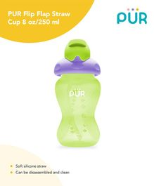Pur Flip Flap Straw Cup Green - 250 ml