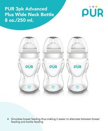 Pur Advanced Plus Wide Neck Transparent Bottle Pack Of 3 - 250 ml