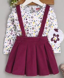 Babyhug Corduroy Dungaree Style Pleated Frock With Inner Tee Floral Print - Wine Red
