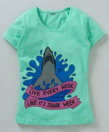 Curlous Short Sleeves Shark Print Tee - Sea Green