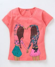 Curlous Short Sleeves Best Friends Print Tee - Peach